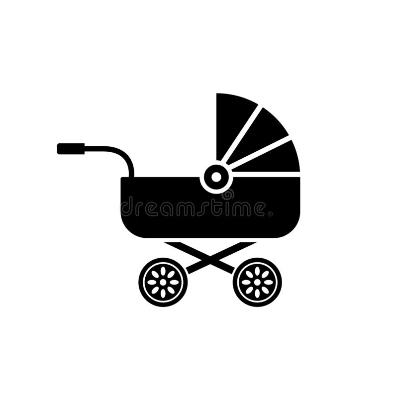 Baby carriage icon buggy, pram stroller silhouette illustration.  royalty free illustration