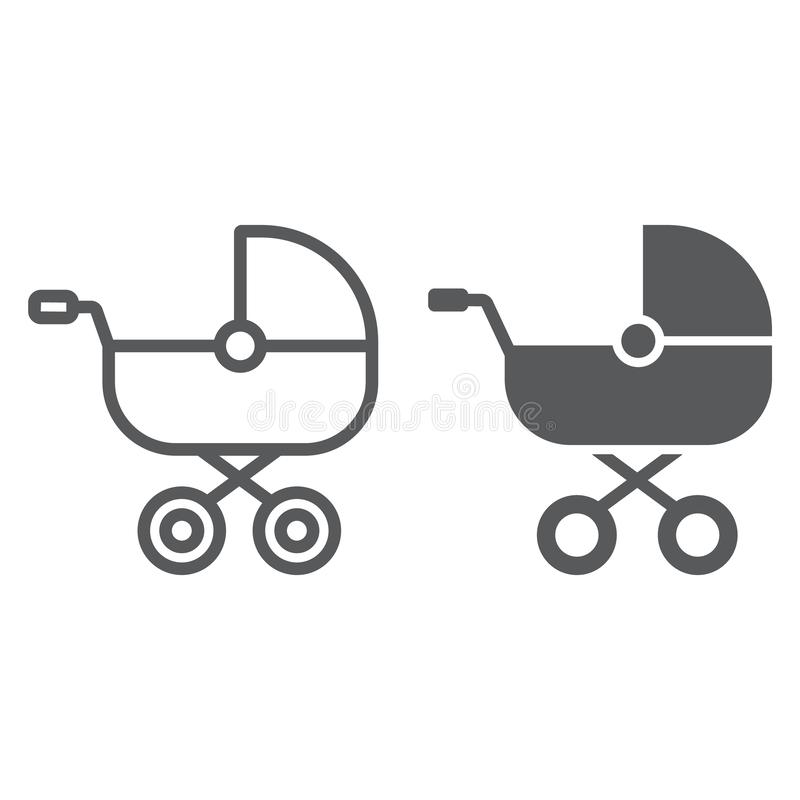 Baby carriage line and glyph icon, child and pram, buggy sign, vector graphics, a linear pattern on a white background. Baby carriage line and glyph icon, child vector illustration