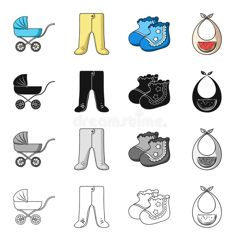 Baby carriage, pantyhose, children`s booties, breast bib. Baby care set collection icons in cartoon black monochrome stock illustration