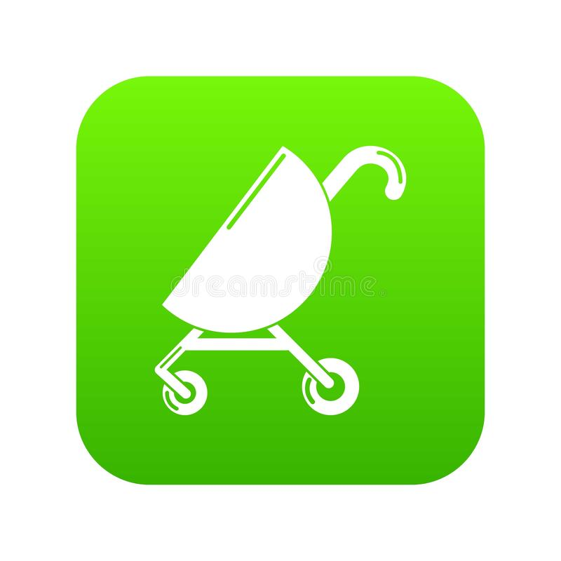 Baby carriage pink icon green vector vector illustration