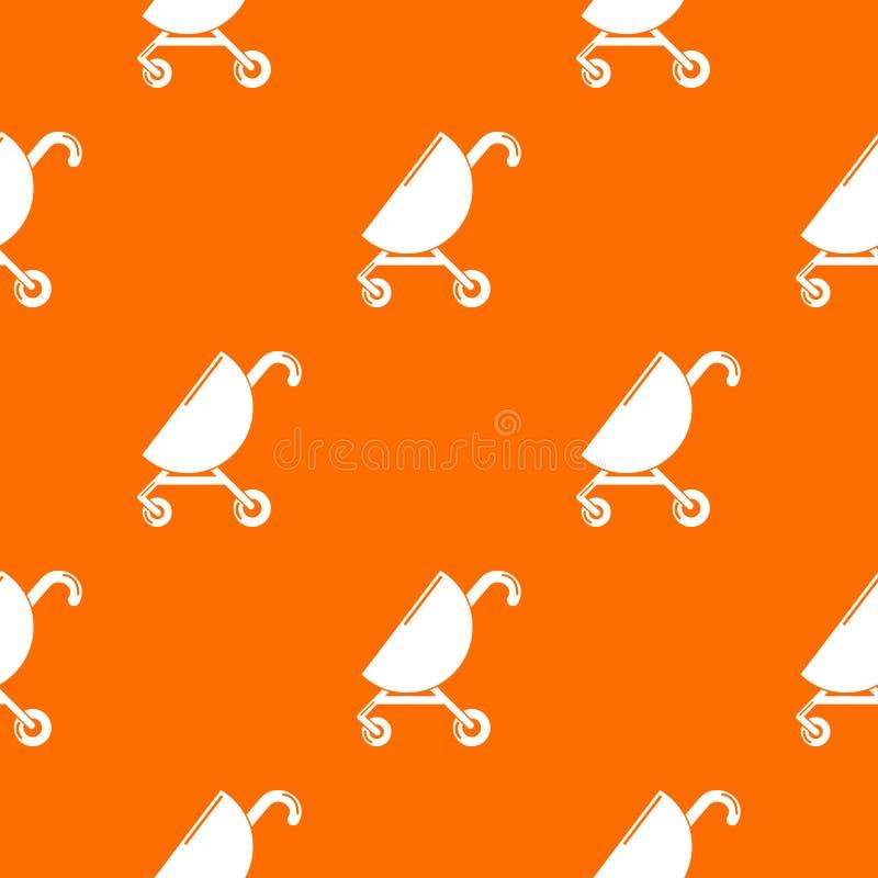 Baby carriage pink pattern vector orange vector illustration