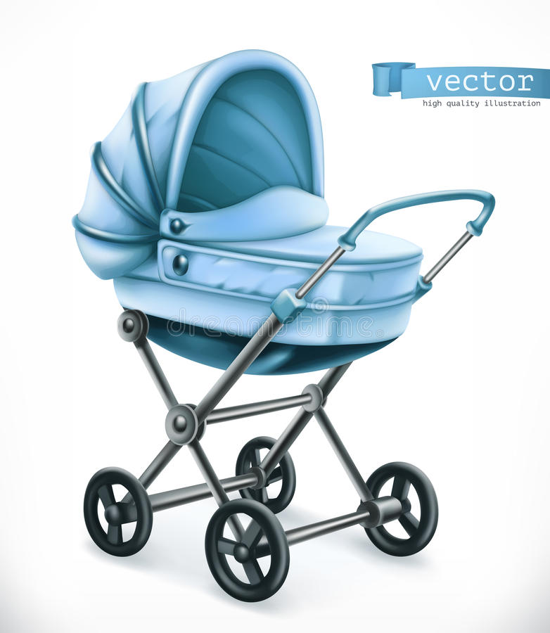 Baby carriage. Stroller vector icon stock illustration