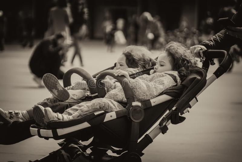 Baby carriage for twins royalty free stock photography