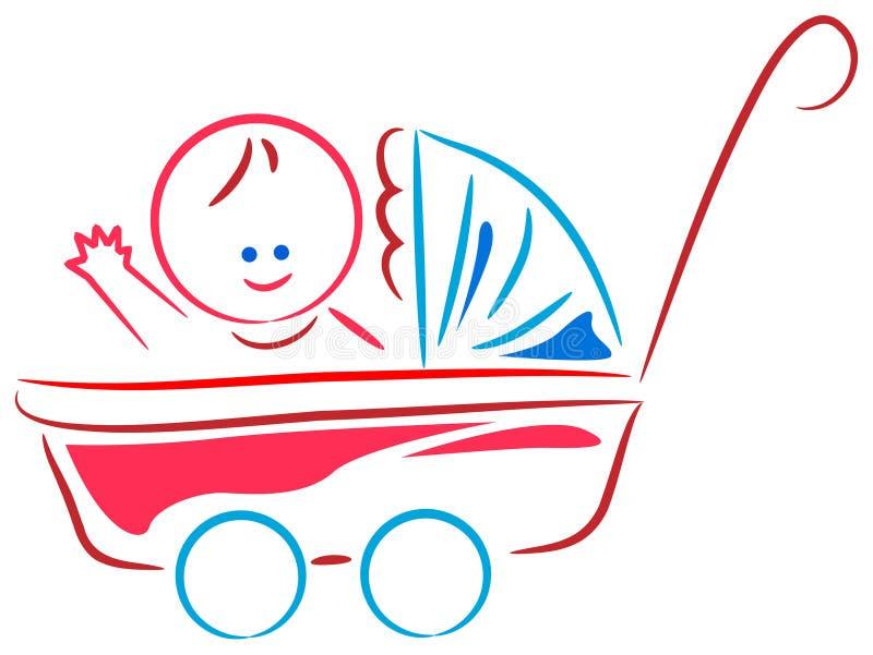 Baby in cart vector illustration