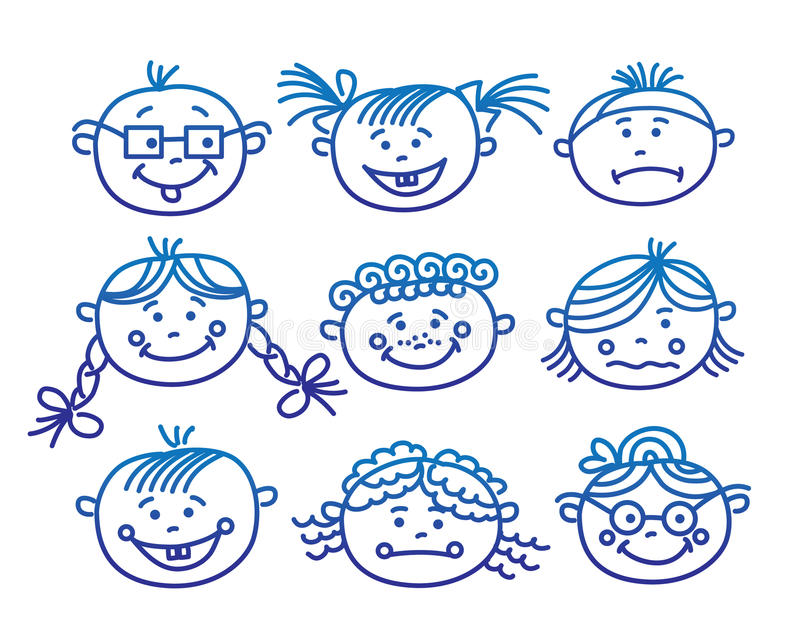 Baby cartoon faces royalty free illustration