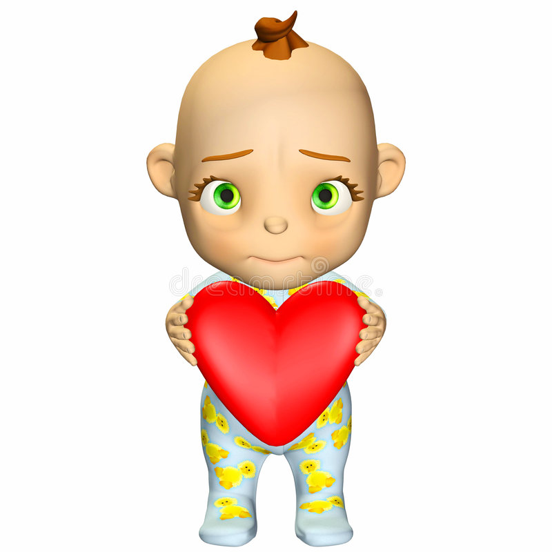 Baby Cartoon in Love royalty free stock photography