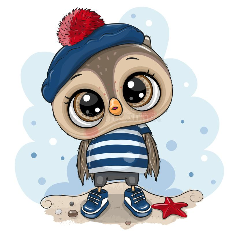 Free Baby Cartoon Owl In Sailor Costume Royalty Free Stock Images - 144503229