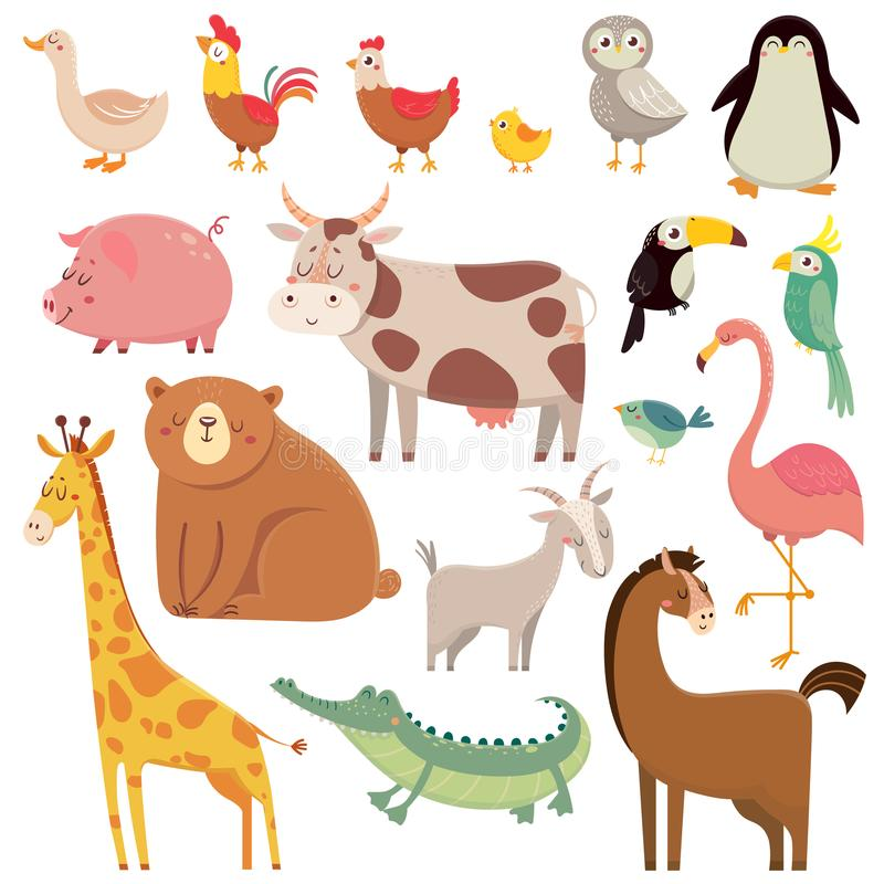 Baby cartoons wild bear, giraffe, crocodile, bird and domestic a vector illustration