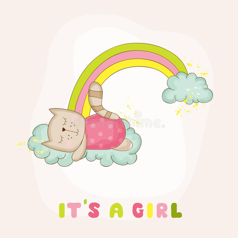 Baby Cat Girl Sleeping on a Rainbow - Baby Shower Card royalty free illustration