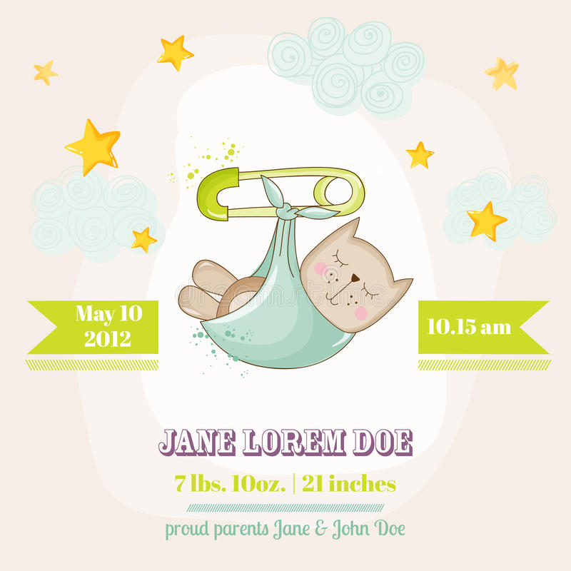 Baby Cat Sleeping - Baby Shower or Arrival Card stock illustration
