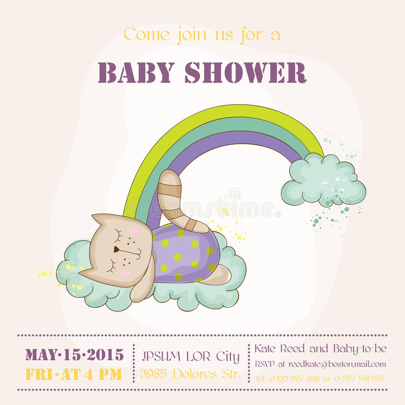 Baby Cat Sleeping on a Rainbow - Baby Shower or Arrival Card. In vector royalty free illustration