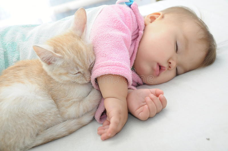 Baby and cat sleeping together. On white sheet royalty free stock photos