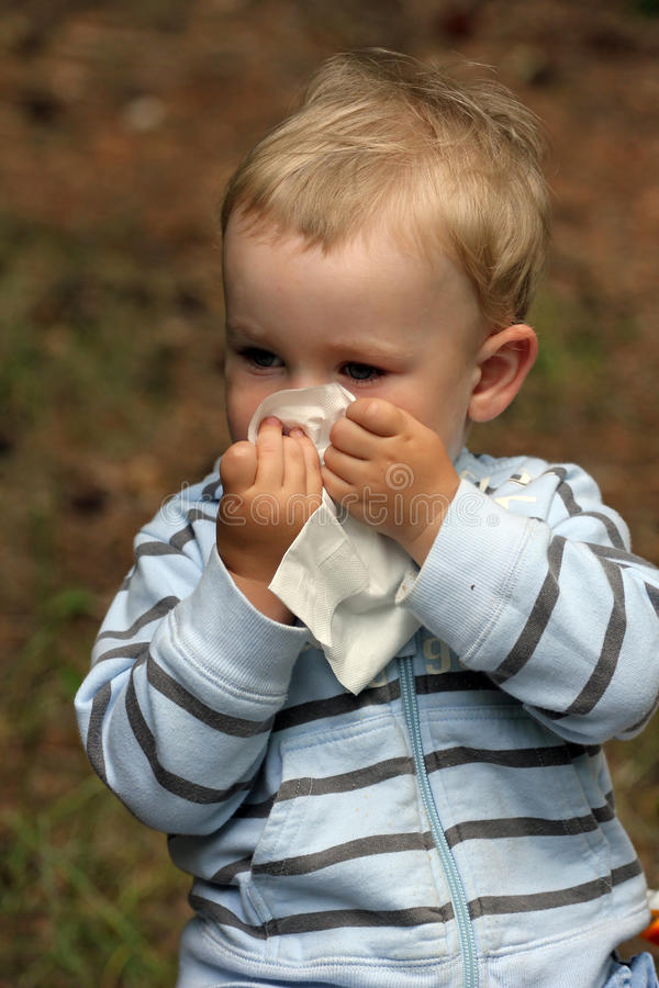 Baby with catarrh or allergy stock images