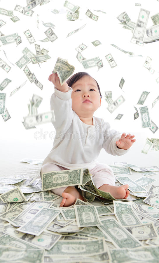 Download Baby Catch Money Rain In The Air Stock Photo - Image of cash, funny: 28327976
