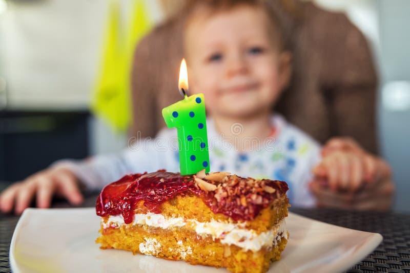 Baby celebrating birthday royalty free stock photography