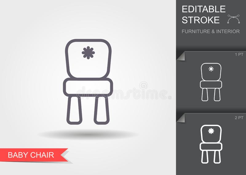 Baby chair. Line icon with editable stroke with shadow vector illustration