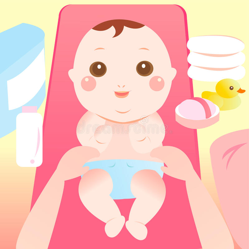 Baby changing diaper royalty free illustration