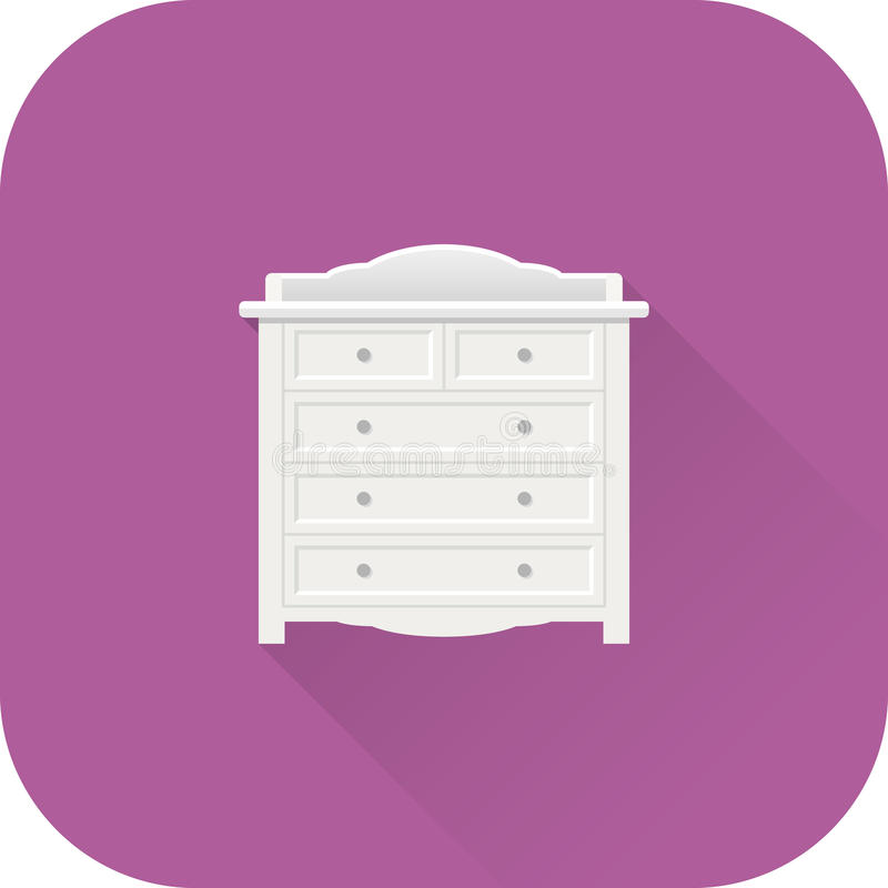 Baby changing table icon. Vector. Flat design with long shadow. stock illustration