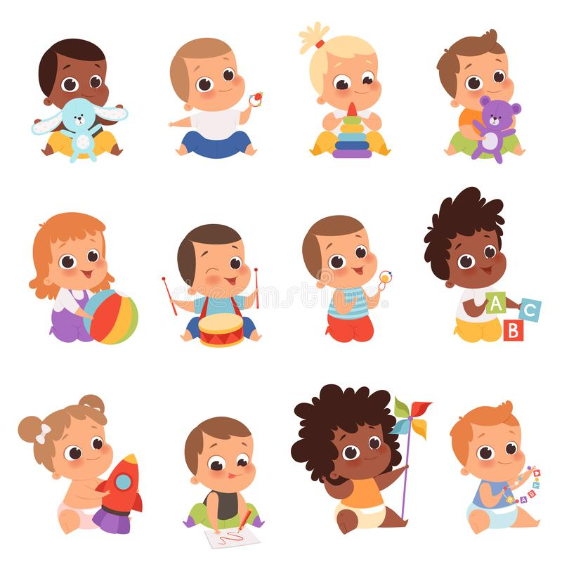 Baby characters. New born kids playing toys happy childhood small little one vector babies. Illustration baby child newborn with teddy, playing toddler stock illustration