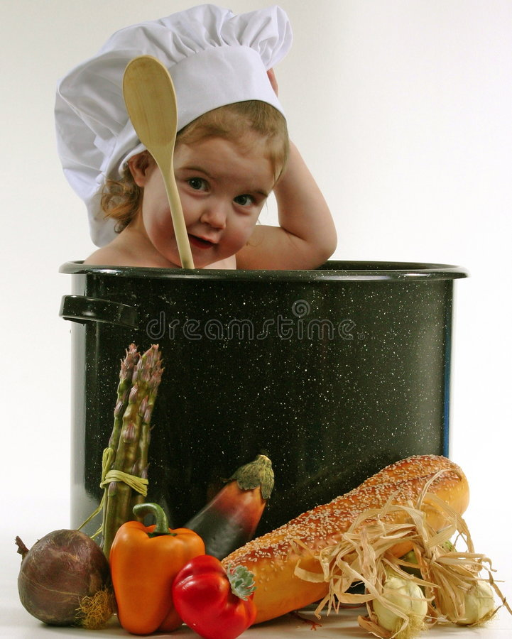 Download Baby in a Chef Pot stock image. Image of happy, spoon, pretty - 343437