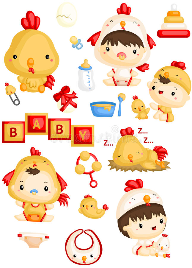 Baby in Chicken Costume vector illustration