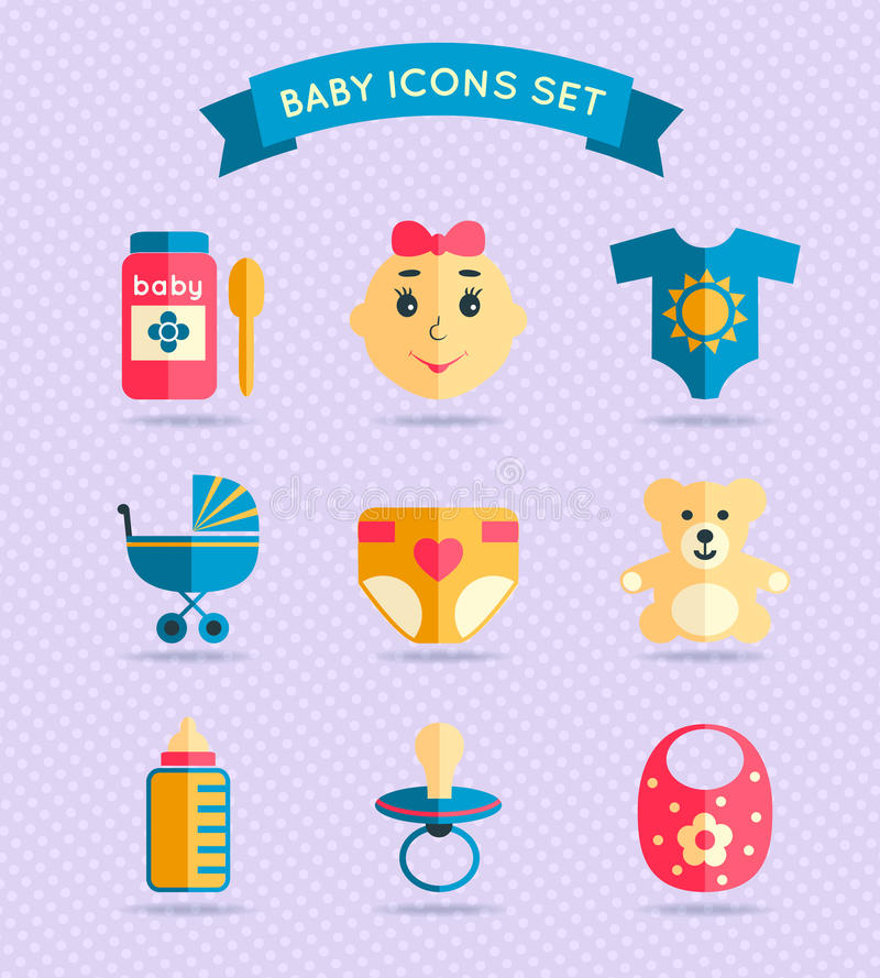Baby child icons set royalty free illustration