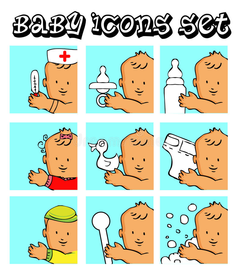 Baby, child vector background. Icons set girl, food, care icons stock illustration