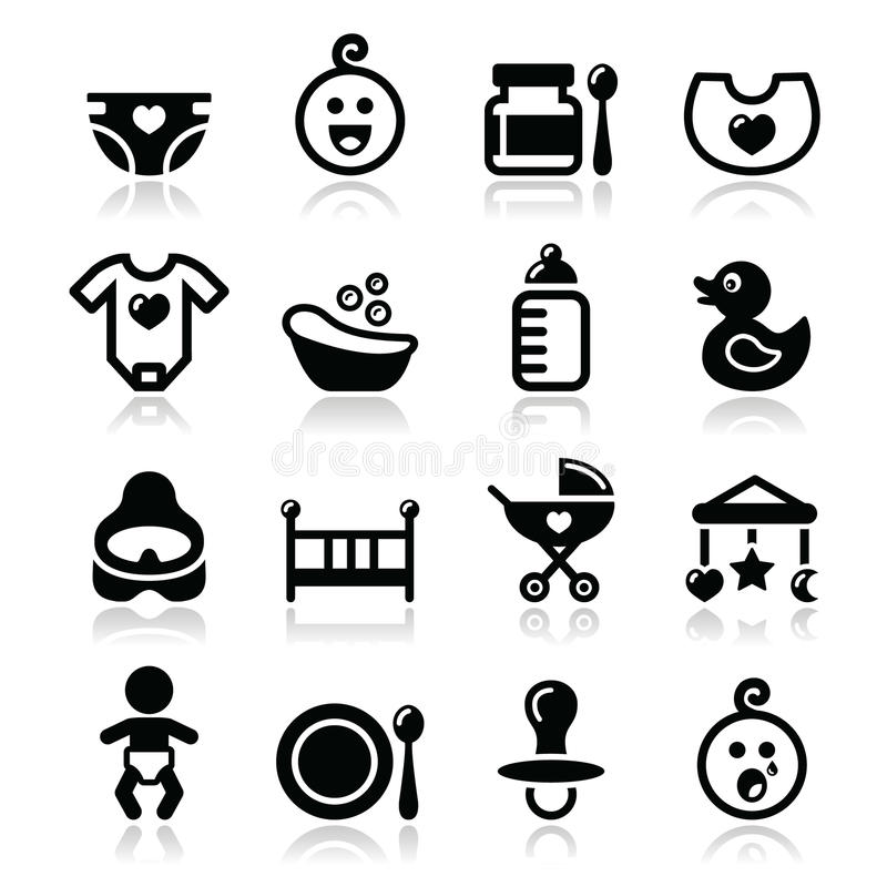 Baby , childhood icons set isolated on white vector illustration