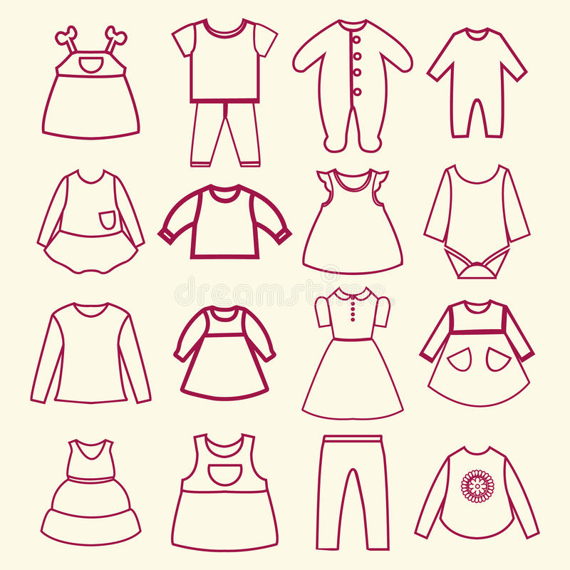 Baby and children clothes collection outline icons stock illustration
