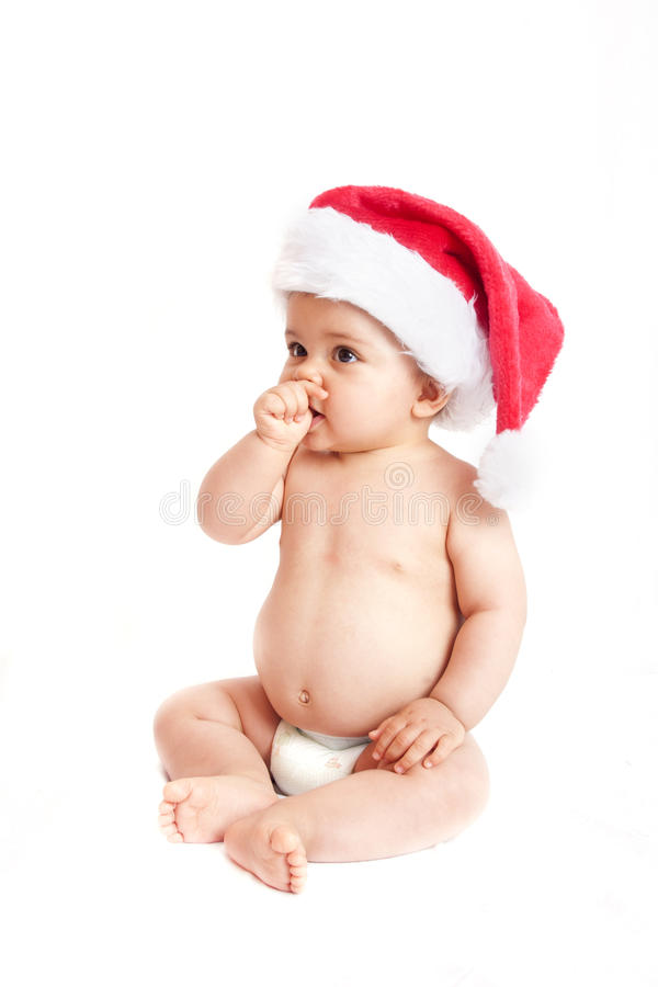 Baby With Christmas Hat Royalty Free Stock Photography