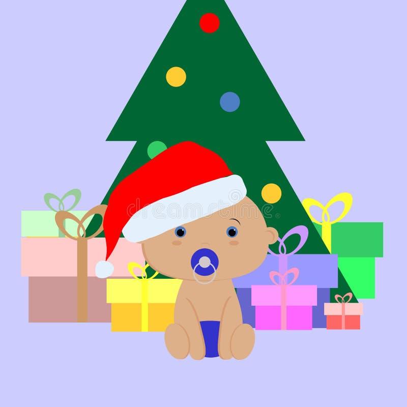 Baby Christmas illustration of little boy sitting under the tree vector illustration