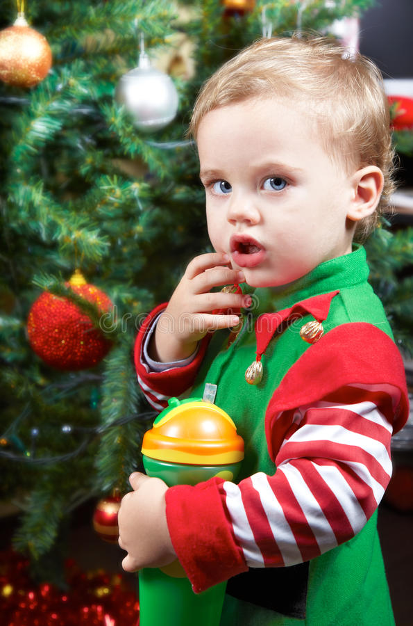 Download Baby by the Christmas tree stock photo. Image of caucasian - 22646854