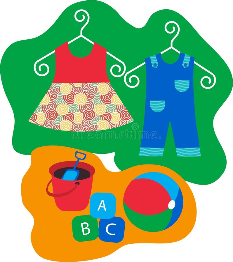 Baby clothes and baby toys. Baby clothes hanging on clothes hanger vector illustration
