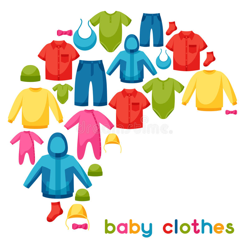 Baby Clothes Background With Clothing Items For Stock Vector