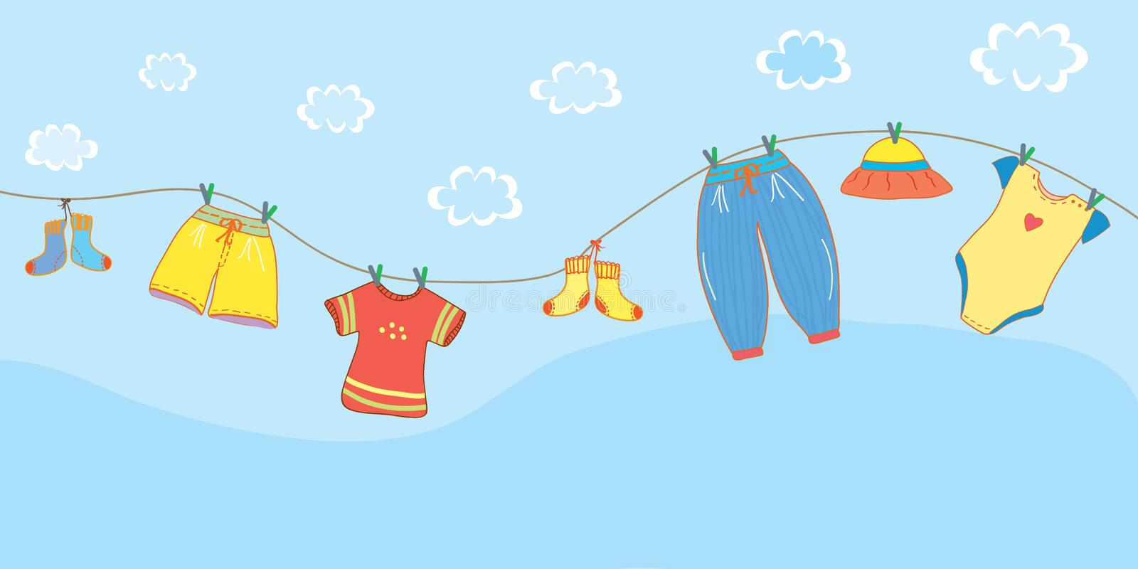Baby clothes banner in the sky stock illustration