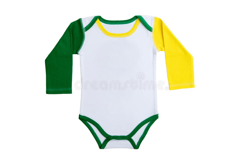 Baby clothes Brazil. Long Sleeves Baby clothes in Brazilian colors on white background stock image