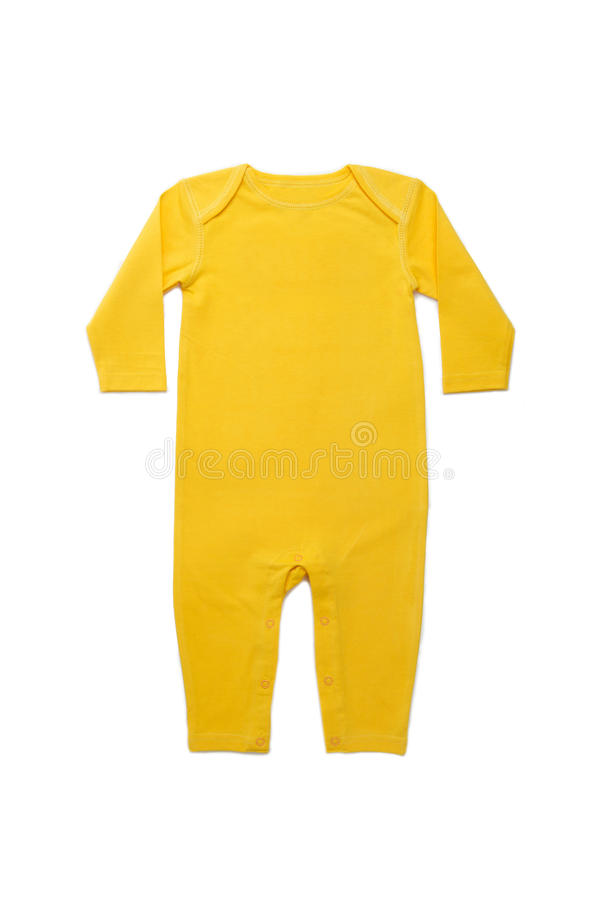 Baby clothes Brazil. Long Sleeves Baby clothes in Brazilian yellow on white background royalty free stock photos