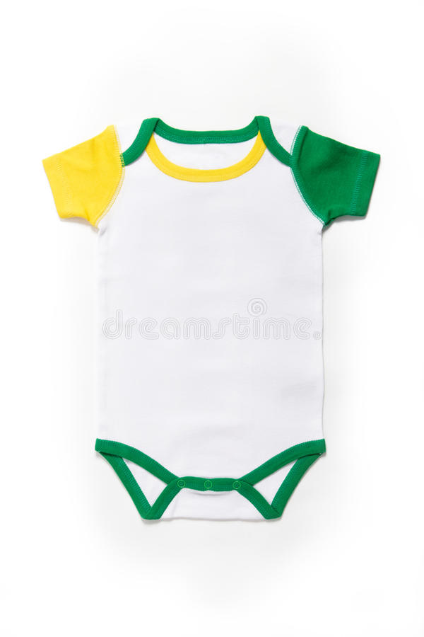 Baby clothes Brazil. Short Sleeve Baby clothes in Brazilian colors on white background royalty free stock photos