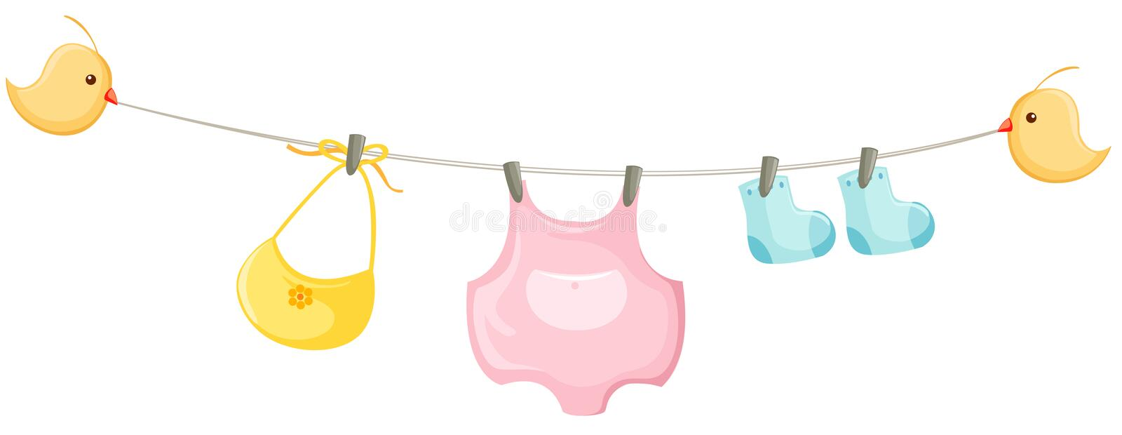baby clothes on a clothesline royalty free illustration
