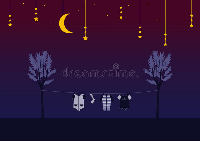 Baby clothes on clothespin in the night sky , Design for kid cards. Baby clothes on clothespin in the night sky royalty free illustration