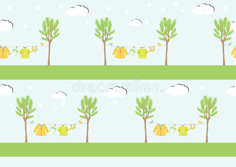Baby clothes on clothespin ,seamless pattern ,Vector illustrations. Baby clothes on clothespin ,seamless pattern stock illustration