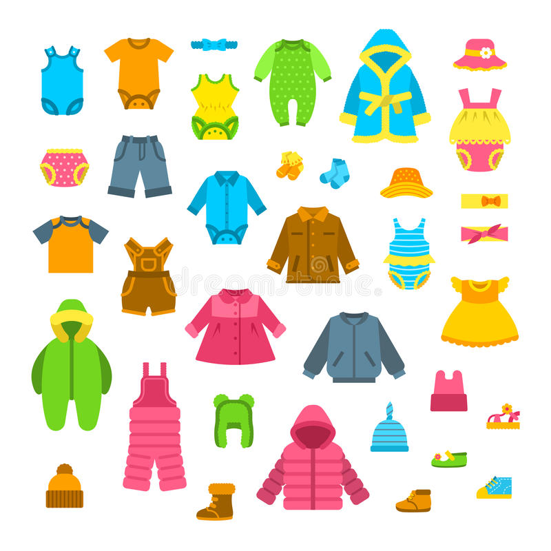 Baby clothes flat vector illustrations set stock illustration