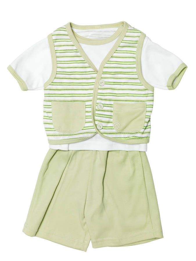 Baby clothes green set isolated on white stock photo