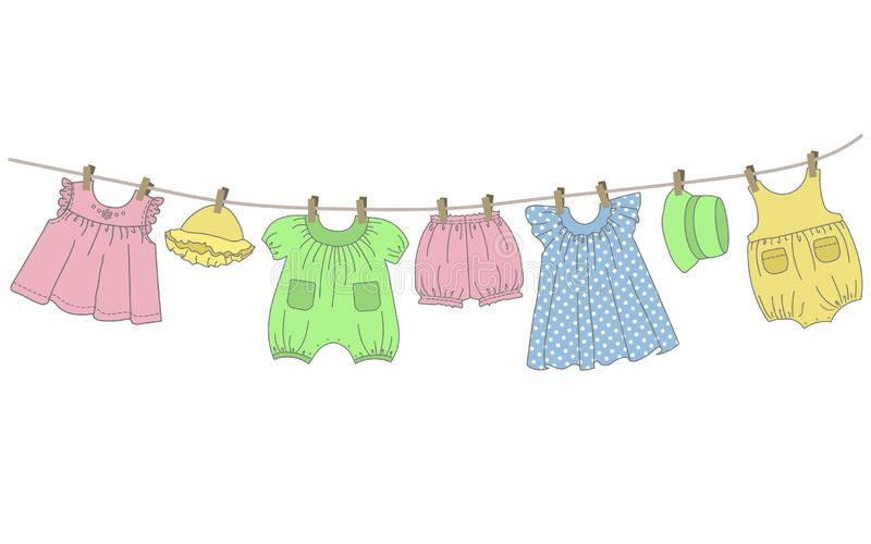 Baby clothes hang on the clothesline. Things are dried on clothespins after washing. Vector illustration on a white background royalty free illustration