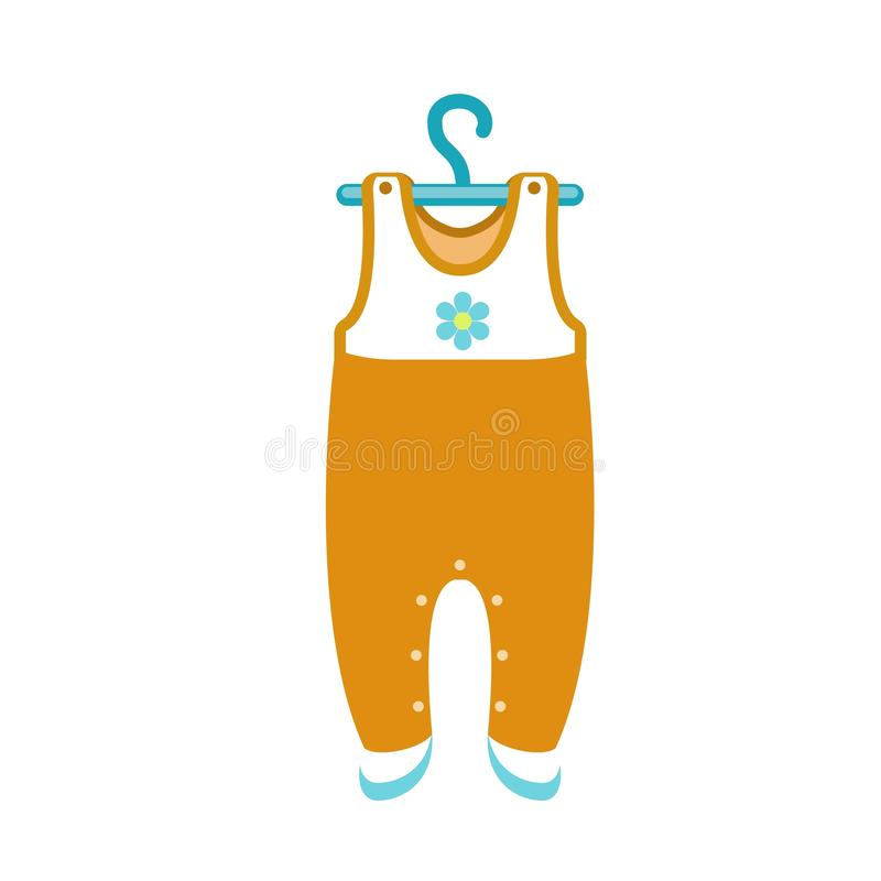 Baby clothes on hanger icon, flat style. Baby clothes on hanger icon. Flat illustration of baby clothes on hanger vector icon for web design vector illustration
