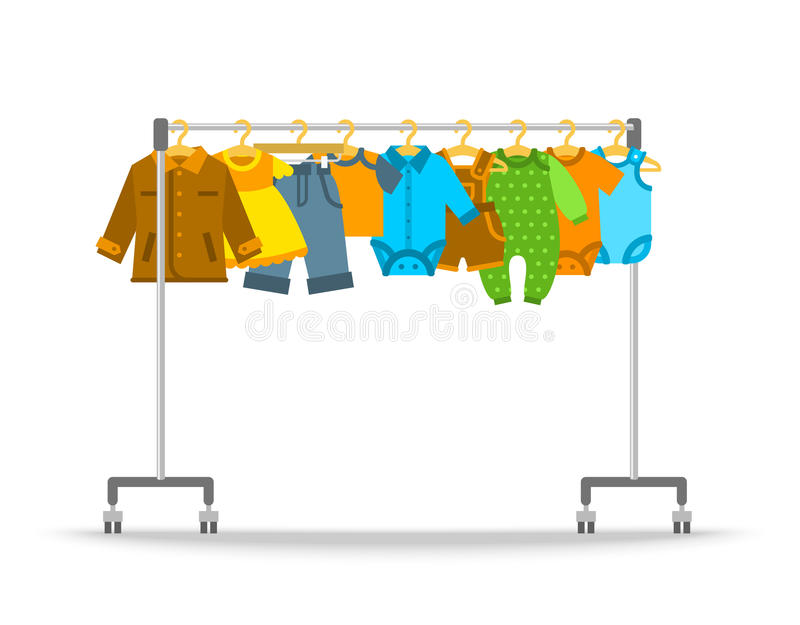 Baby clothes on hanger rack flat illustration stock illustration