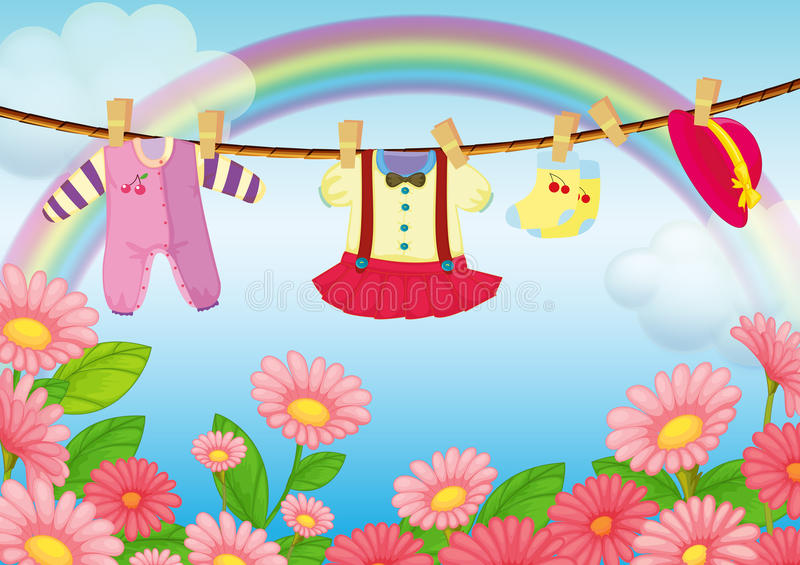 Baby clothes hanging in the garden royalty free illustration