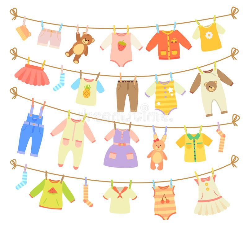 Baby Clothes Hanging on Rope Illustration. Various items of baby clothes and teddy bears hanging on rope vector illustration on white background. Laundry held by stock illustration