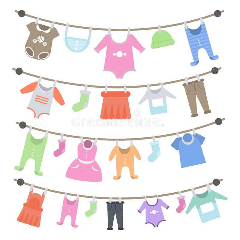 Baby clothes hanging. vector illustration