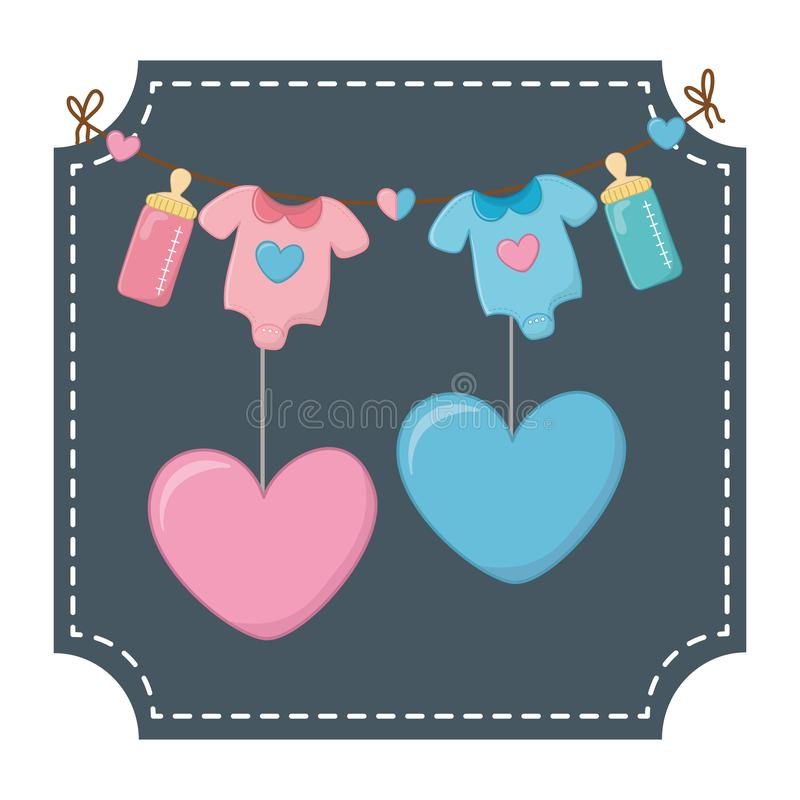 Baby clothes and hearts vector illustration stock illustration